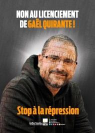 NON AU LICENCIEMENT DE GAEL QUIRANTE / STOP À LA REPRESSION (video)